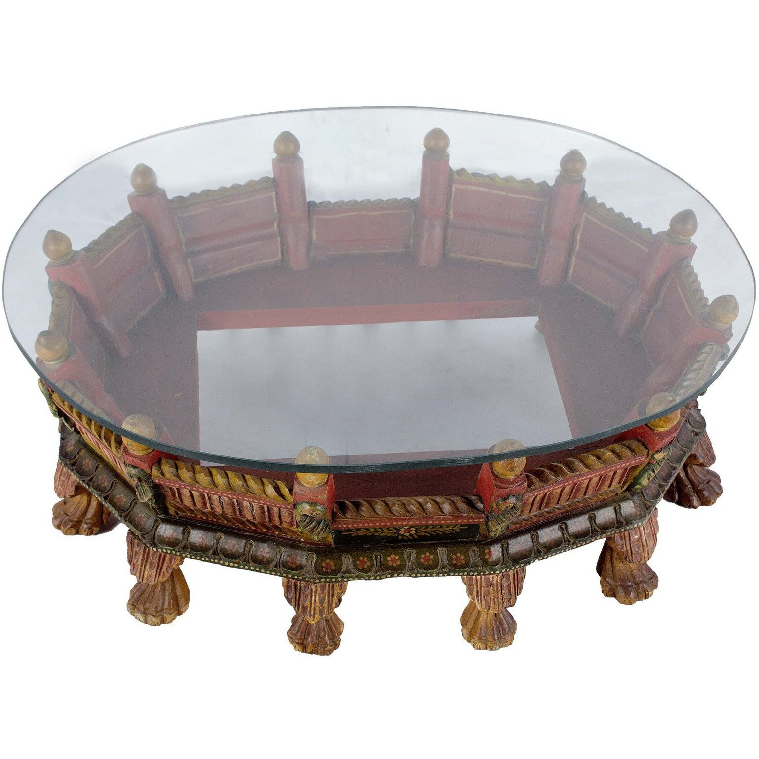 Handmade Oval Palkhi Coffee Table - Hand painted Multicolor finish