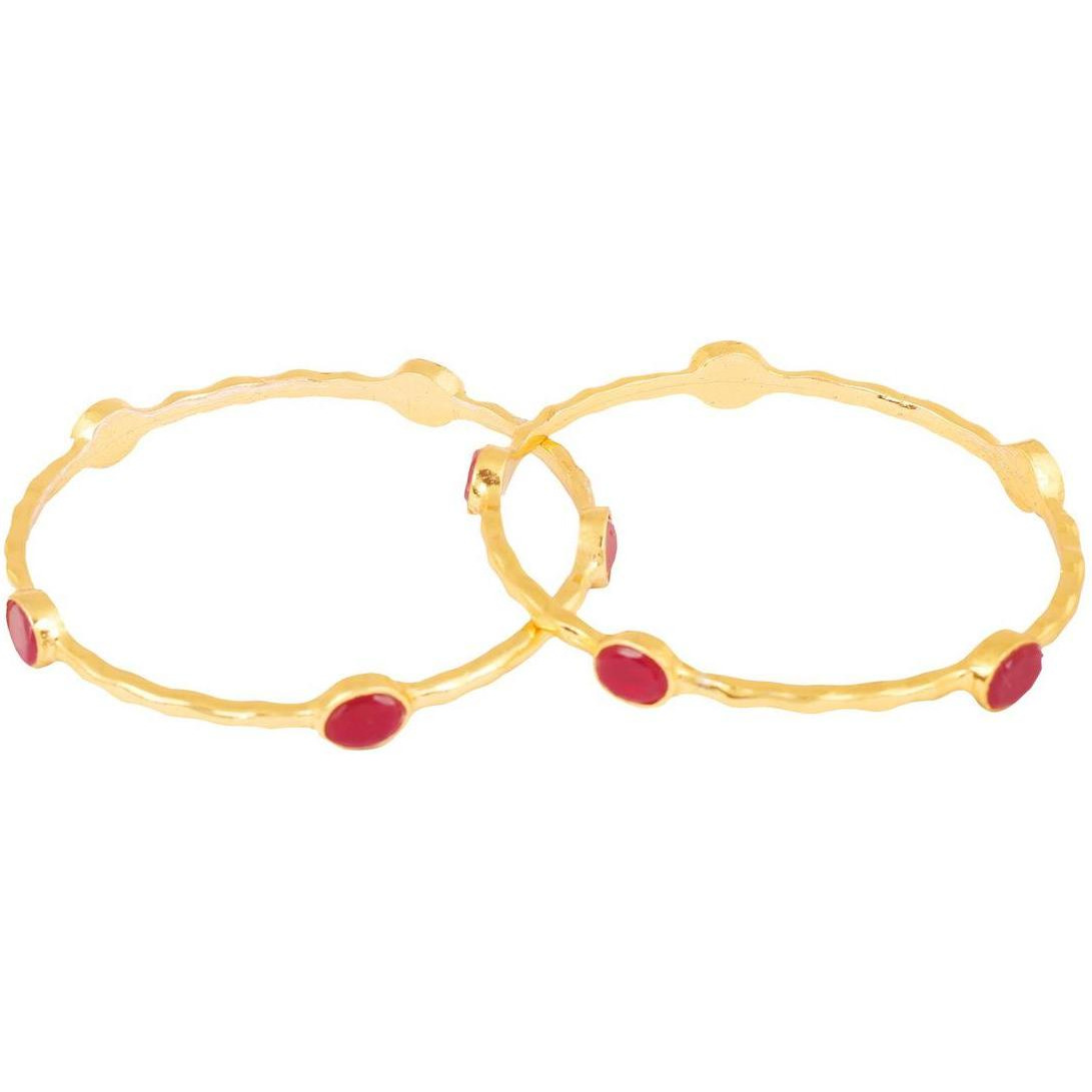 Indian ethnic red  ruby ethnic designer jewelry bangle for women in gold tone