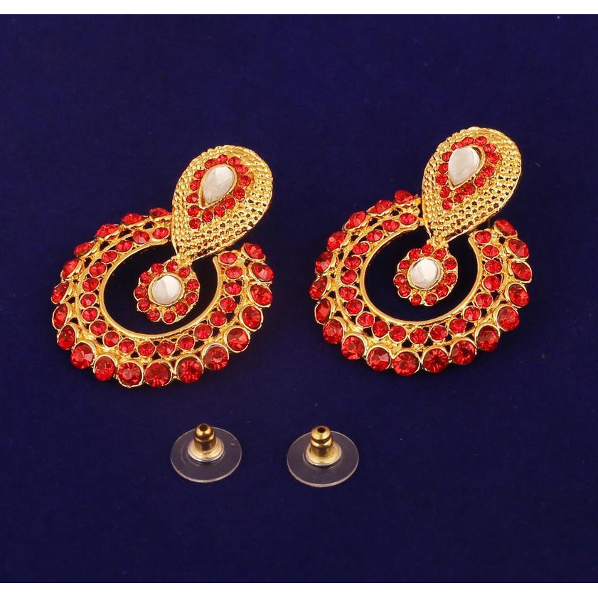 Indian Kundan look red faux ruby moon earrings for women in antique gold tone