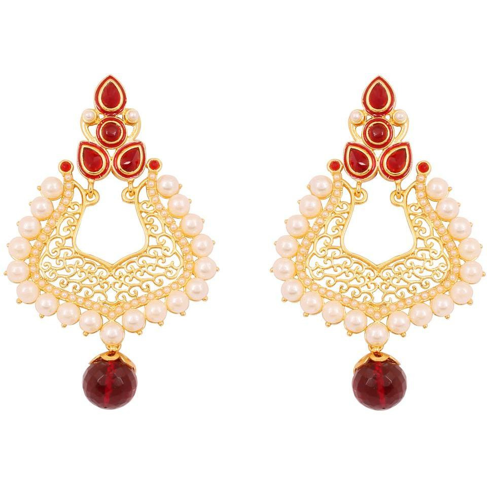 Indian beautiful filigree faux pearls ruby earrings in gold tone for women
