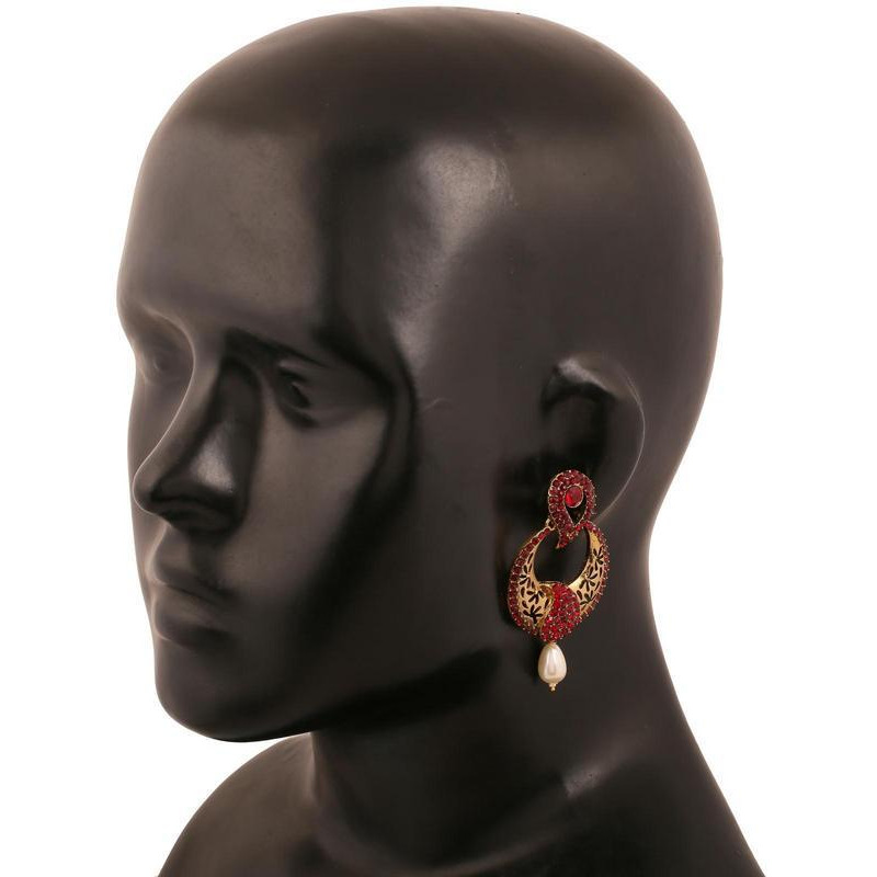 Indian paisley faux ruby pearls designer earrings in antique gold tone for women