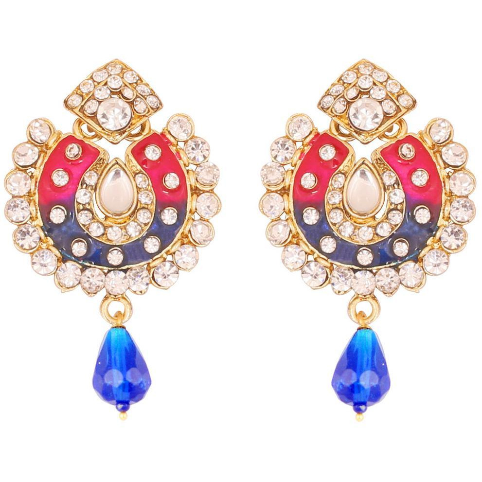 Indian ethnic crystal Jaipur minakari earrings in antique gold tone for women