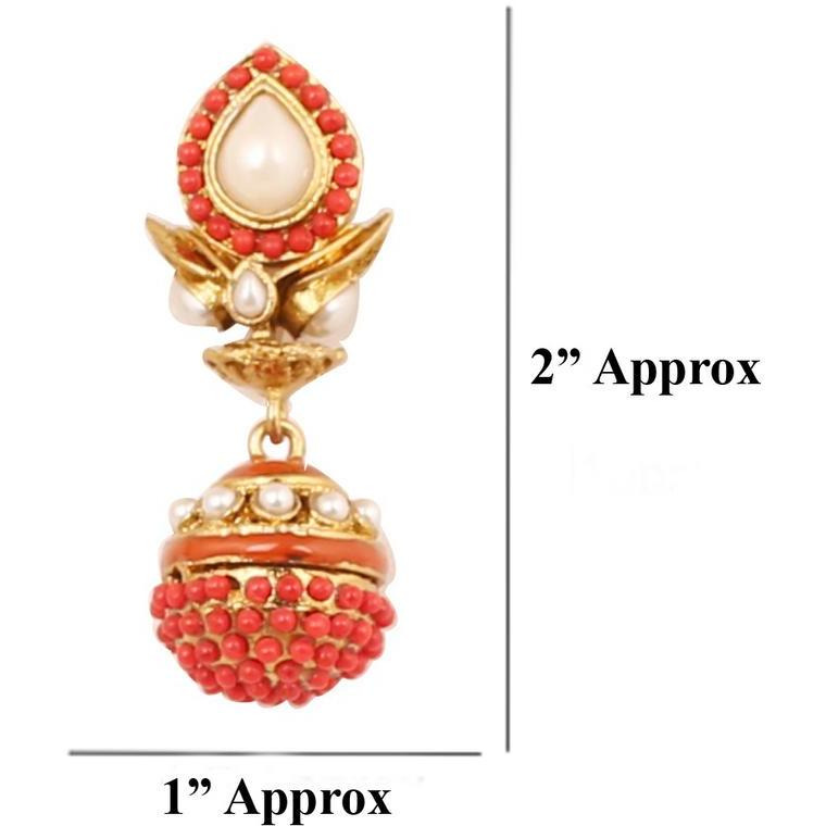Indian faux pearls corals pretty jhumki earrings in antique gold tone for women
