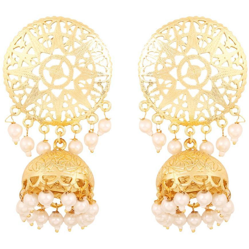 Indian finely embossed faux pearls earrings for women in gold tone for women