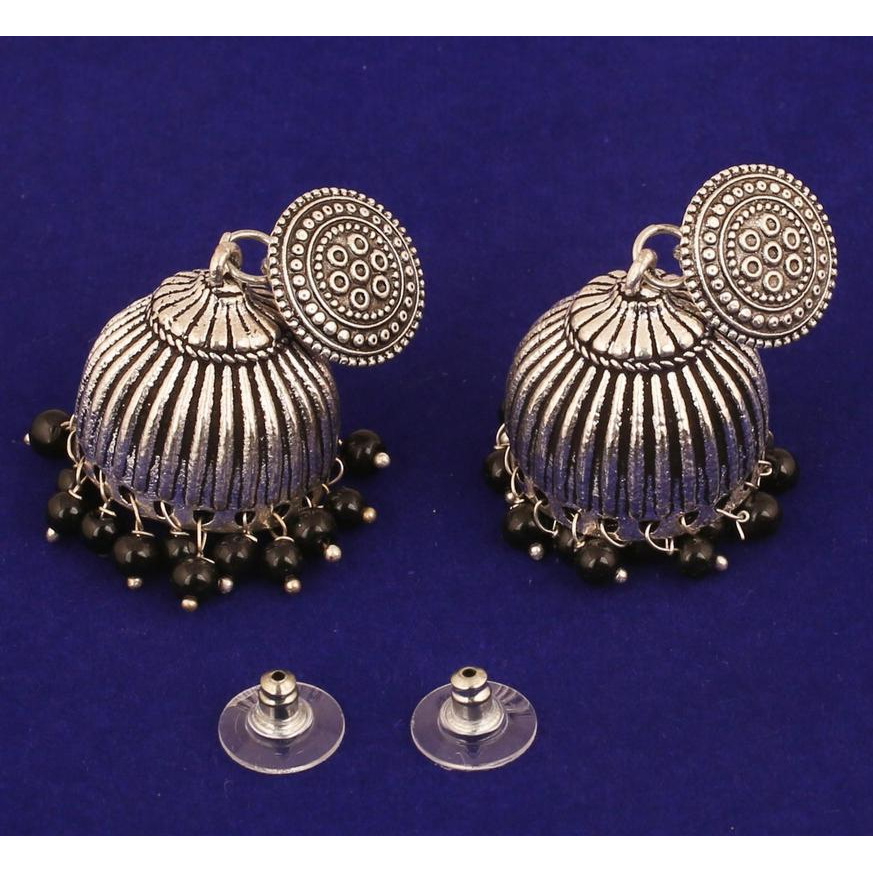 Indian tribal mystic gypsy black beads earrings in oxidized silver tone for women