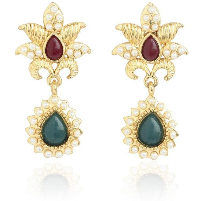 Indian traditional faux pearls ruby emerald art earrings in gold tone for women