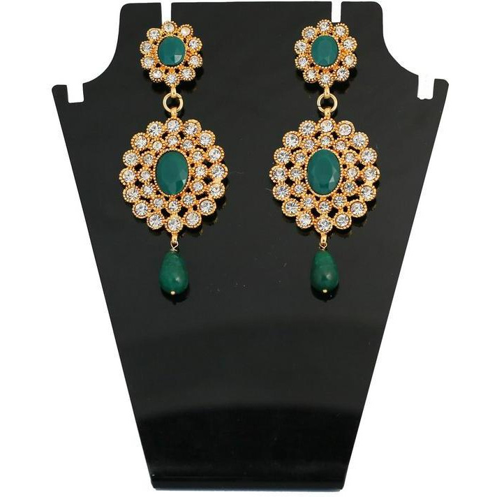 Indian traditional faux emerald dazzling designer earrings in gold tone for women