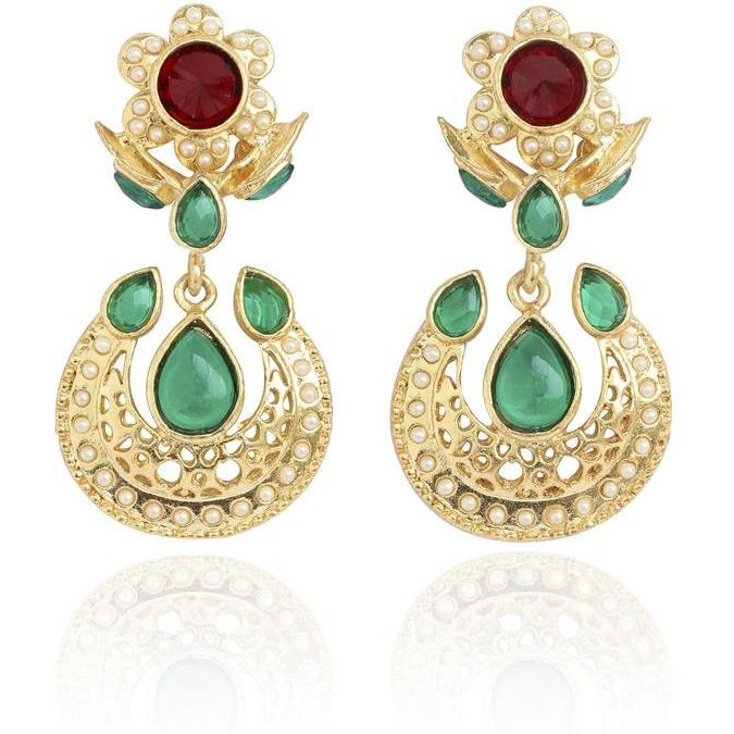 Indian traditional faux pearls ruby emerald earrings in gold tone for women