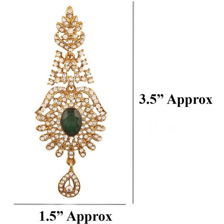 Indian traditional rhinestone faux emerald earrings in antique gold tone for women