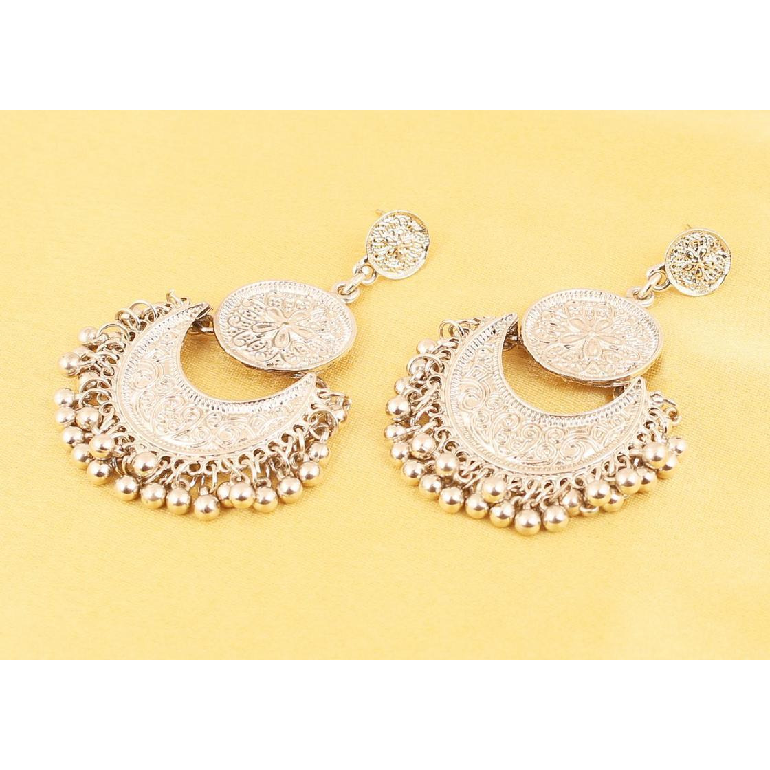 Indian hammered embossed beads chaand earrings in silver tone  for women