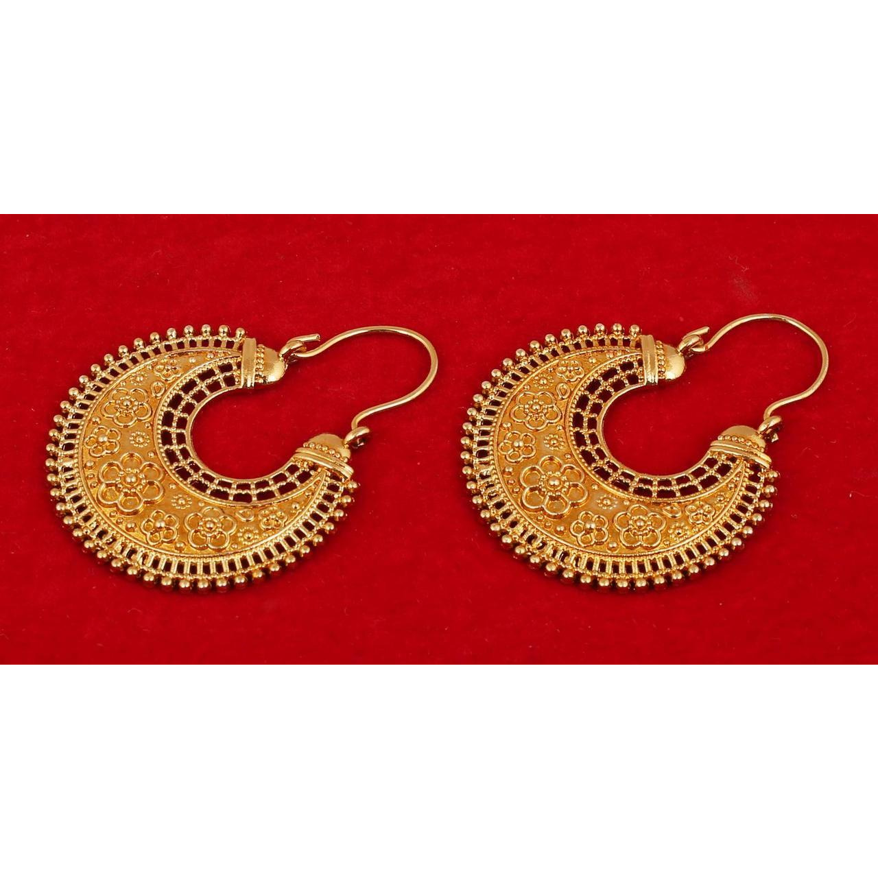 Indian fringes floral south chand moon earrings in antique gold tone for women