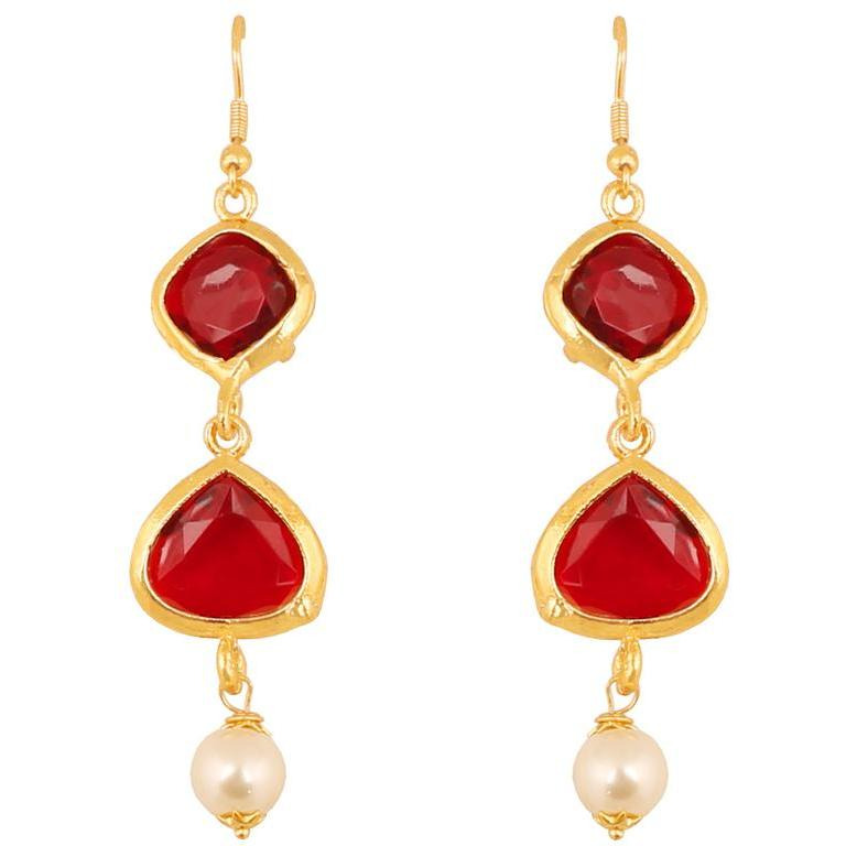 Indian square heart faux ruby pearls designer earrings in gold tone for women
