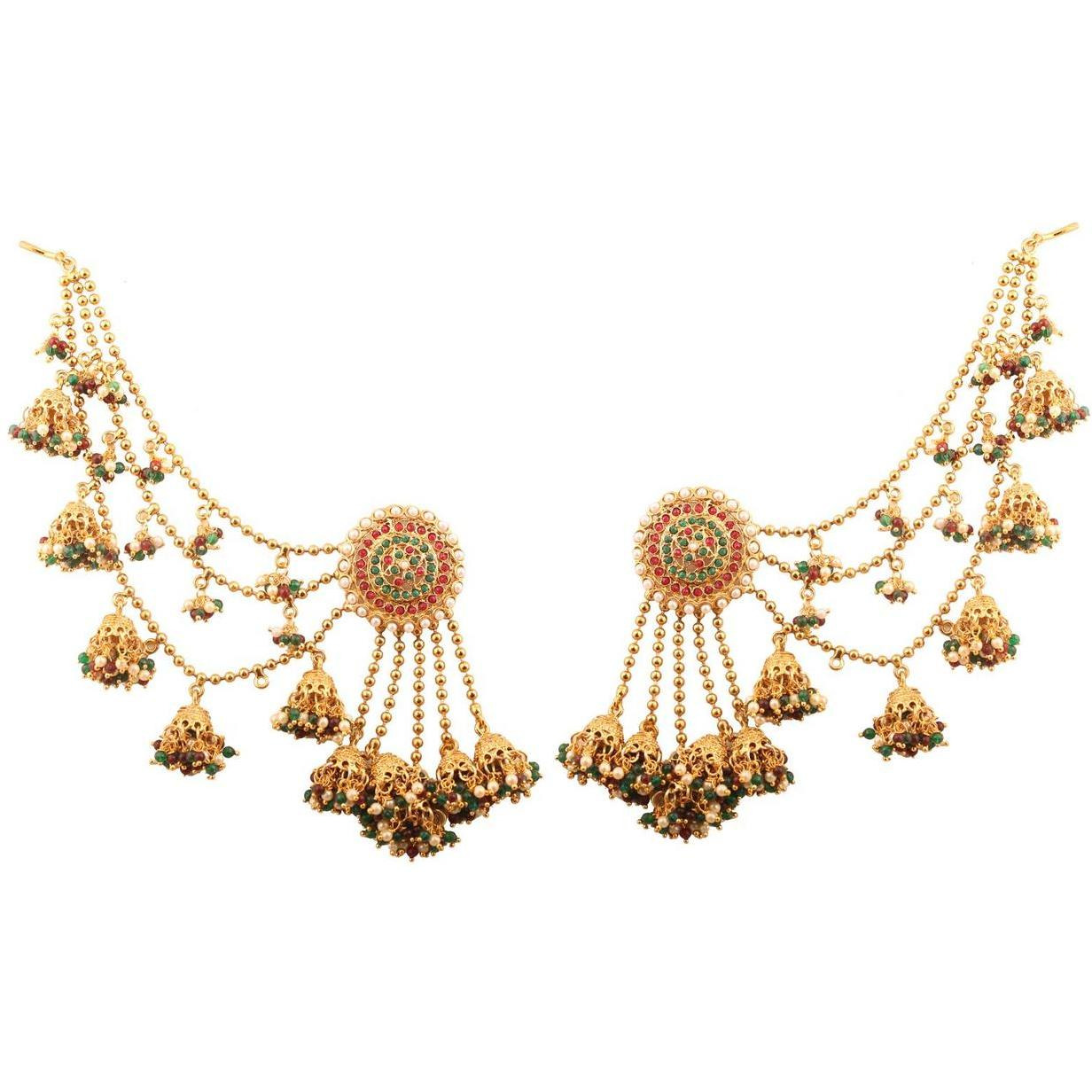 Indian Devsena Bahubali multi color beads earrings in antique gold tone for women