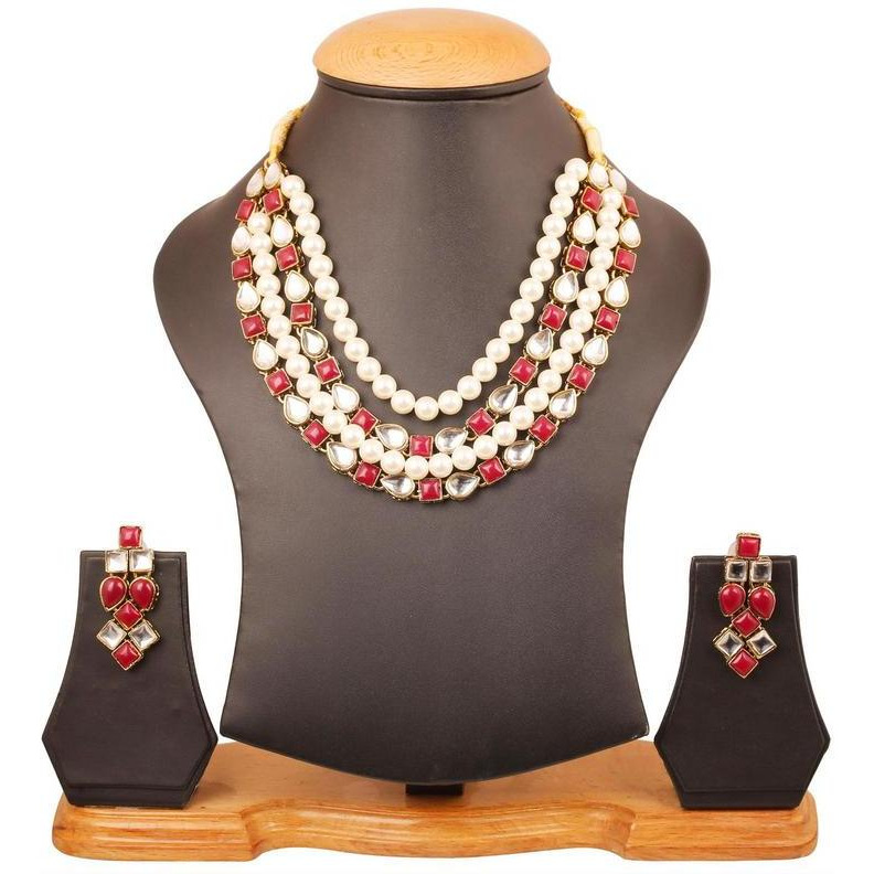 Indian Kundan look faux ruby pearls exotic necklace in antique gold tone for women