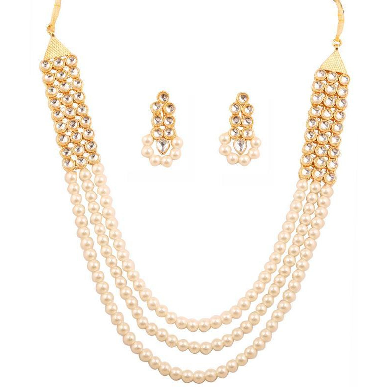 Indian stylish Kundan look faux pearls grand necklace set in gold tone for women