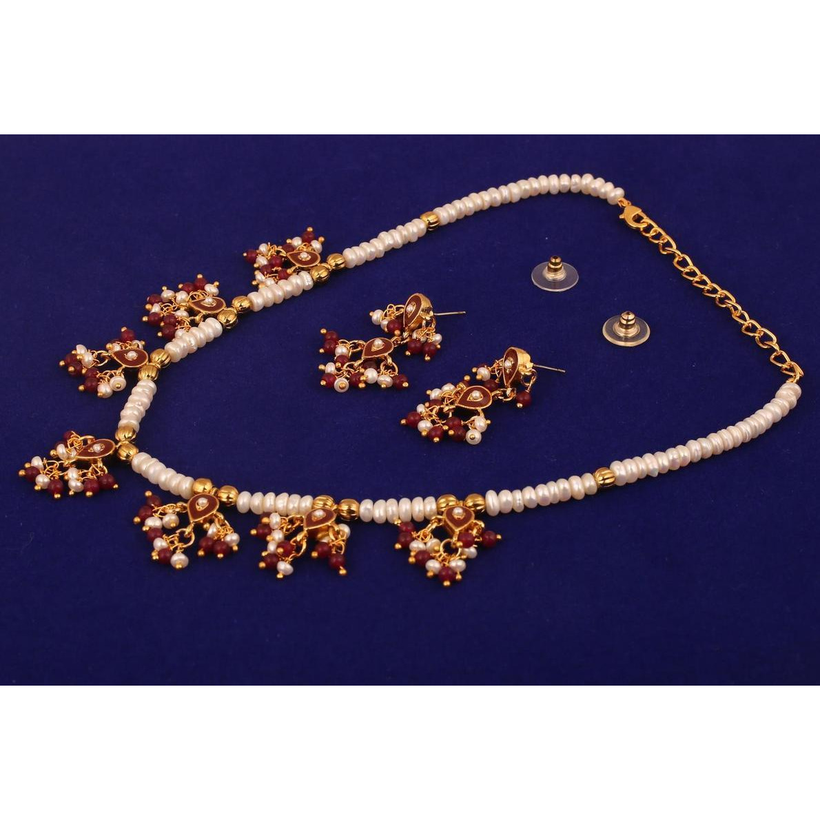 Indian enamel minakari jadau faux pearls beads necklace in gold tone for women
