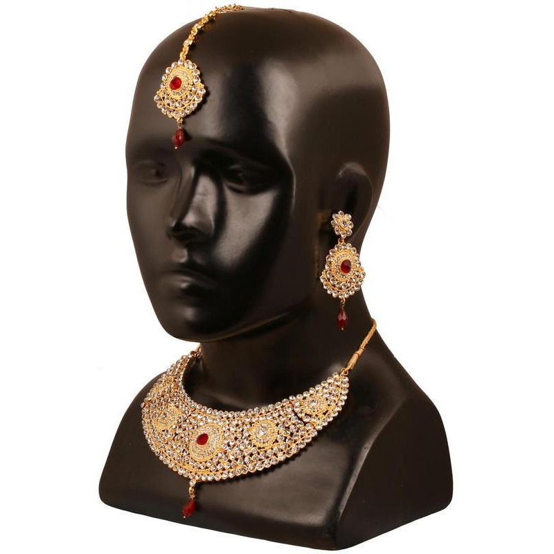 Indian rich white faux ruby hasli bridal necklace in antique gold tone for women