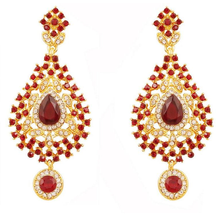 Indian fascinating white rhinestone red faux ruby necklace in gold tone for women