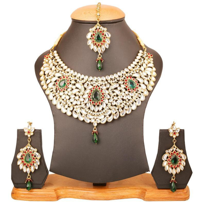 Indian exclusive Kundan look faux emerald necklace set in gold tone for women