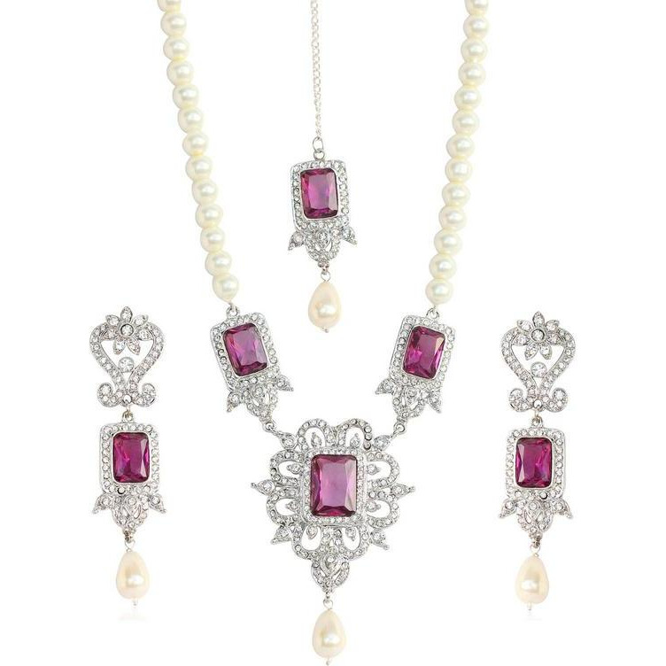 Indian glamorous white purple Austrian crystals in silver tone for women