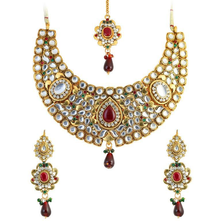 Indian Kundan look cabochon red green hasli necklace in antique gold tone for women
