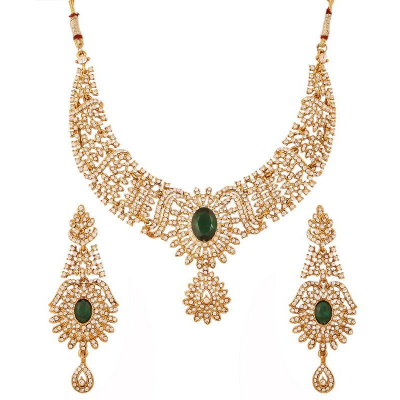 Indian white rhinestone faux emerald necklace set in antique gold tone for women