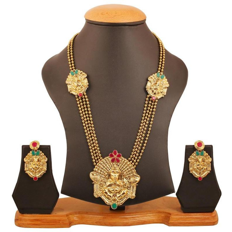 Indian red green ganesh deity grand temple necklace in antique gold tone for women