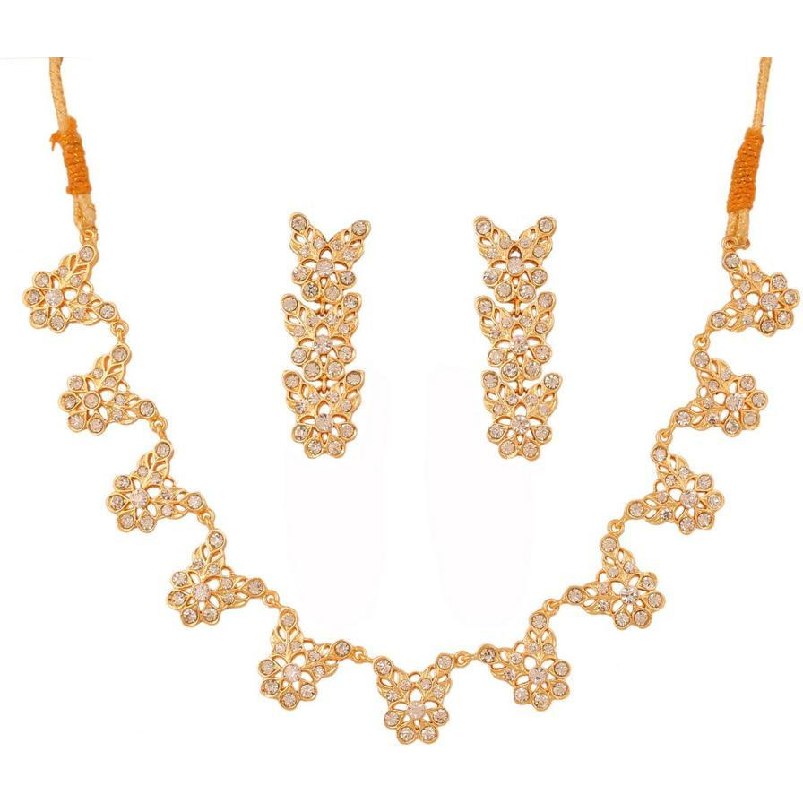 Indian studded style white rhinestones exclusive necklace in gold tone for women