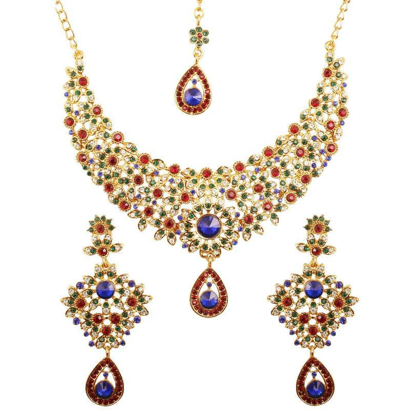 Indian multi color exclusive hasli necklace in antique gold tone for women