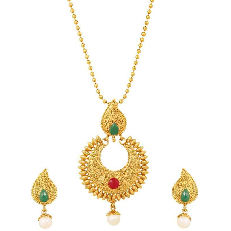 Indian paisley temple faux ruby emerald pearls pendant in antique gold tone for women
