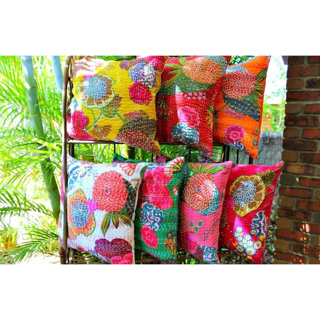 Indian Kantha Cushion Cover Decor Pillow Home Thread Embroidery Work Block Printed