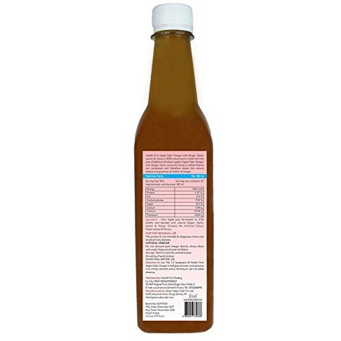 Health first Raw Apple Cider Vinegar - 500 ml - with strand of mother - Unfiltered and unpasturised ,high quality cider at low price (ACV with (H,G,G,L) pack of 2)