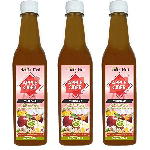 Health first Raw Apple Cider Vinegar - 500 ml - with strand of mother - Unfiltered and unpasturised ,high quality cider at low price (ACV with (H,G,G,L) pack of 3)